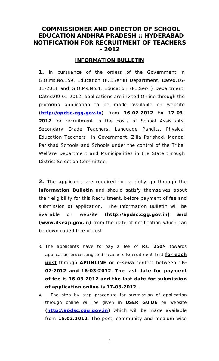 COMMISSIONER AND DIRECTOR OF SCHOOL EDUCATION ANDHRA PRADESH :: HYDERABADNOTIFICATION FOR RECRUITMENT OF TEACHERS         ...