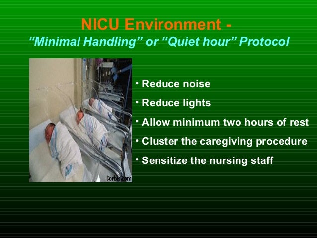 """NICU Environment - """"Minimal Handling"""" or """"Quiet hour"""" Protocol • Reduce noise • Reduce lights • Allow minimum two hours of..."""