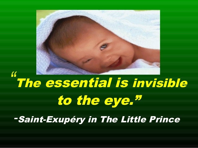 """""""The essential is invisible to the eye."""" -Saint-Exupéry in The Little Prince"""