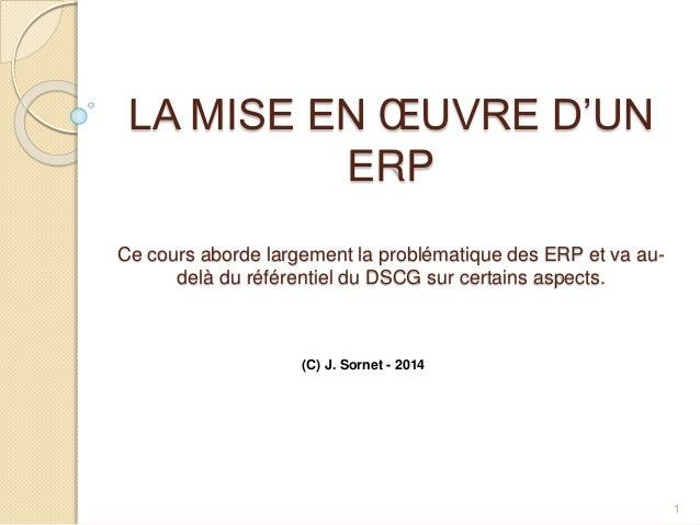 LA MISE EN ŒUVRE D'UN ERP Ce cours aborde largement la problématique des ERP et va au- delà du référentiel du DSCG sur cer...
