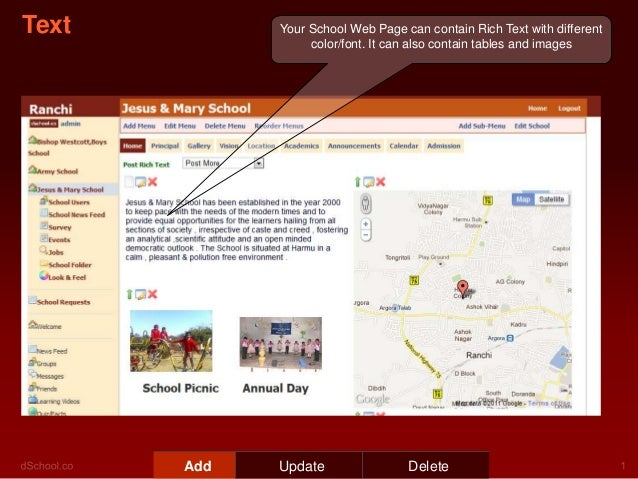 Text         Your School Web Page can contain Rich Text with different                  color/font. It can also contain ta...