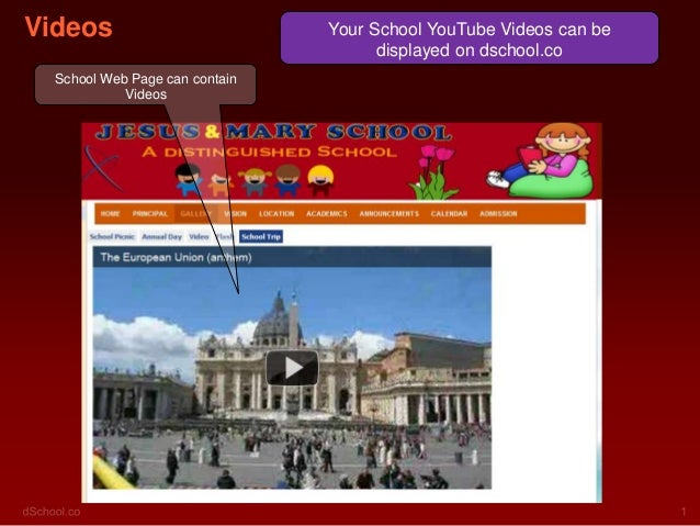 Videos                          Your School YouTube Videos can be                                      displayed on dschoo...