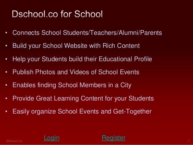 • Connects School Students/Teachers/Alumni/Parents• Build your School Website with Rich Content• Help your Students build ...