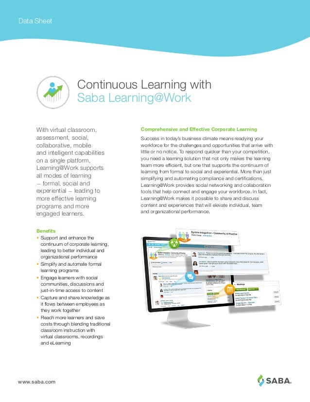 www.saba.com Data Sheet Comprehensive and Effective Corporate Learning Success in today's business climate means readying ...