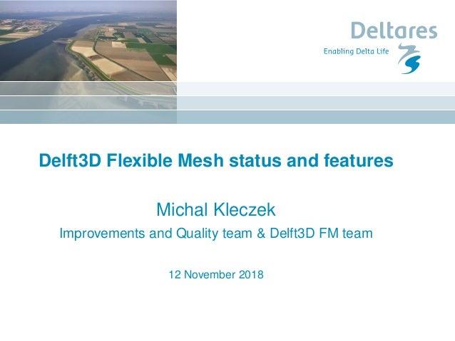 Delft3D Flexible Mesh status and features Michal Kleczek Improvements and Quality team & Delft3D FM team 12 November 2018