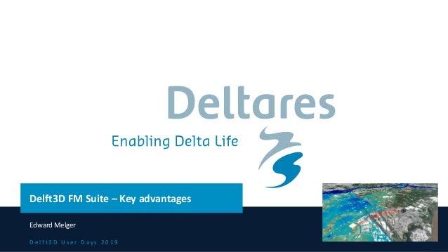 D e l f t 3 D U s e r D a y s 2 0 1 9 Delft3D FM Suite – Key advantages Edward Melger