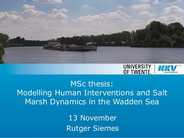 MSc thesis: Modelling Human Interventions and Salt Marsh Dynamics in the Wadden Sea 13 November Rutger Siemes