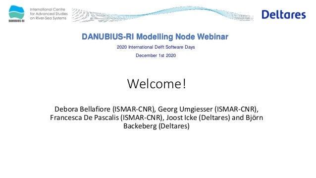 DANUBIUS-RI Modelling Node Webinar 2020 International Delft Software Days December 1st 2020 Welcome! Debora Bellafiore (IS...