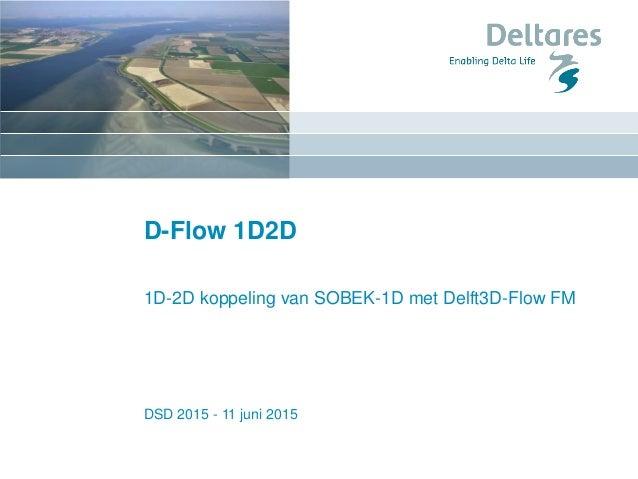 DSD 2015 - 11 juni 2015 D-Flow 1D2D 1D-2D koppeling van SOBEK-1D met Delft3D-Flow FM