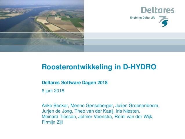 Roosterontwikkeling in D-HYDRO Deltares Software Dagen 2018 6 juni 2018 Anke Becker, Menno Genseberger, Julien Groenenboom...