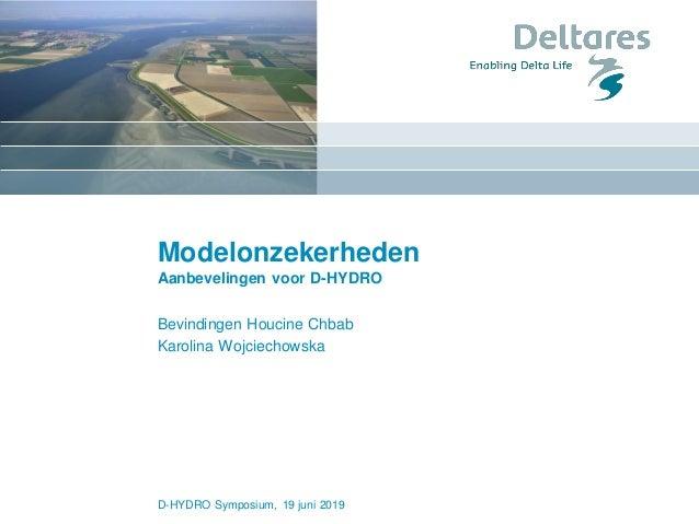 Modelonzekerheden Aanbevelingen voor D-HYDRO Bevindingen Houcine Chbab Karolina Wojciechowska D-HYDRO Symposium, 19 juni 2...