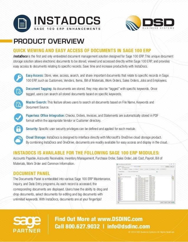 Sage 100 ERP - Instadocs - Affordable Document Management Slide 2