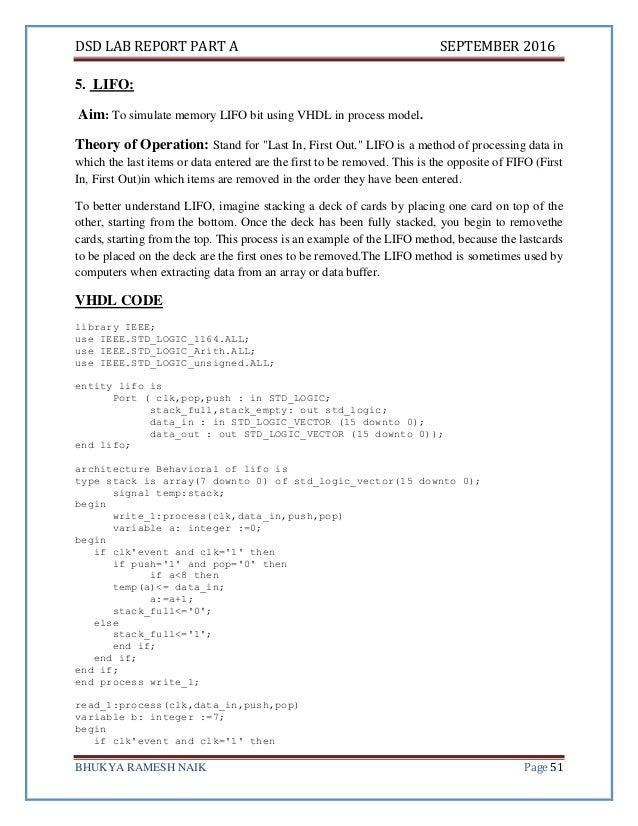 Digital System Design Lab Report Vhdl Ece