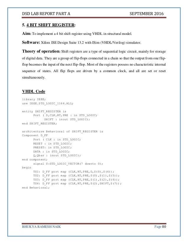 Digital System Design Lab Report - VHDL ECE