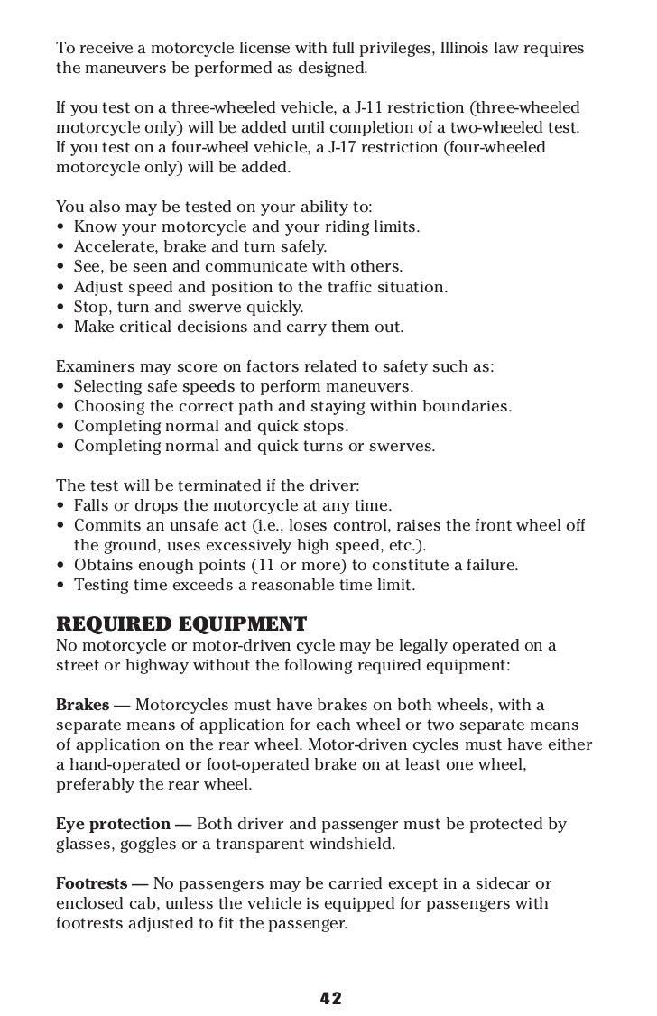 illinois motorcycle operator manual rh slideshare net Motorcycle Test Course Illinois Motorcycle Road Test