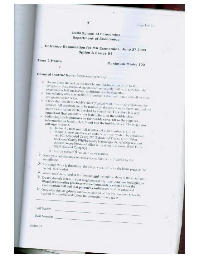 A,  ~. —  ~;    Page I U}  Delhi School of Economics Department of Economics  Entrance Examination for MA Economics,   Jun...