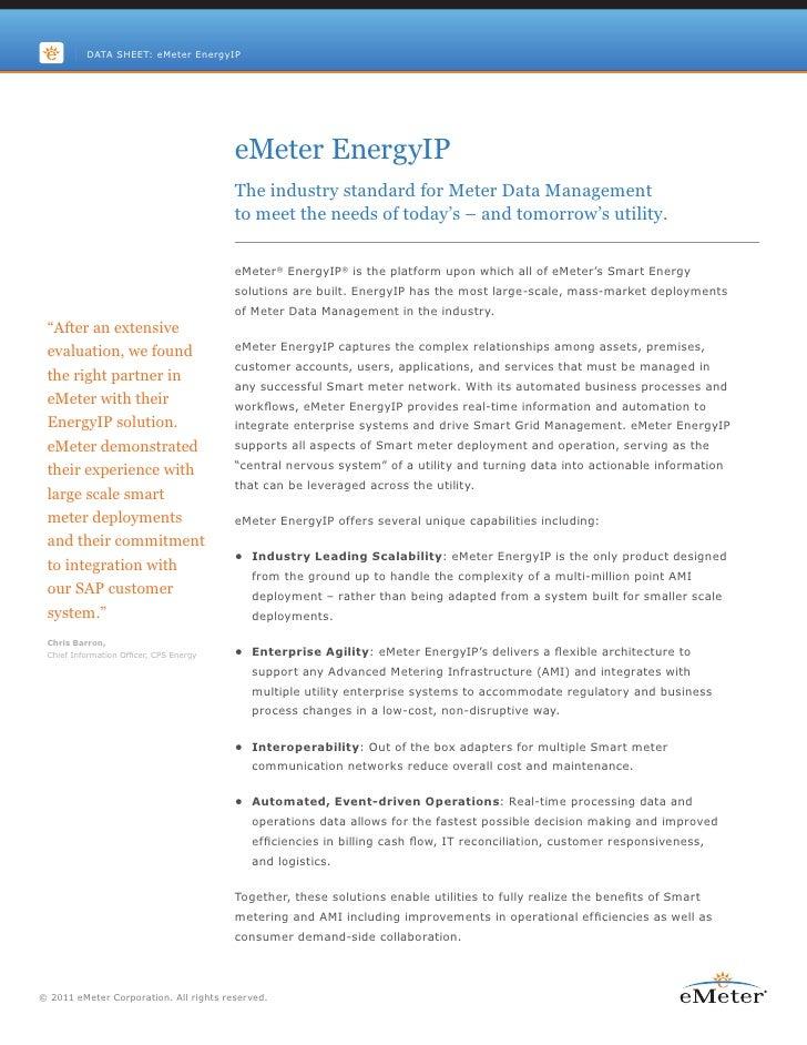 DATA SHEET: eMeter EnergyIP                                         eMeter EnergyIP                                       ...
