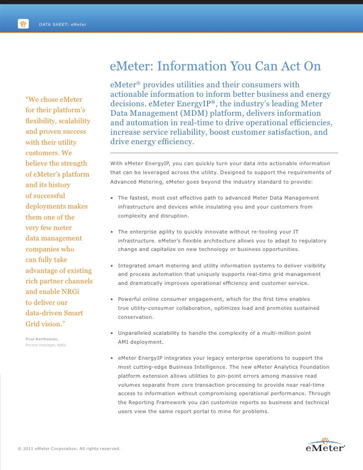 DATA SHEET: eMeter                                          eMeter: Information You Can Act On                            ...