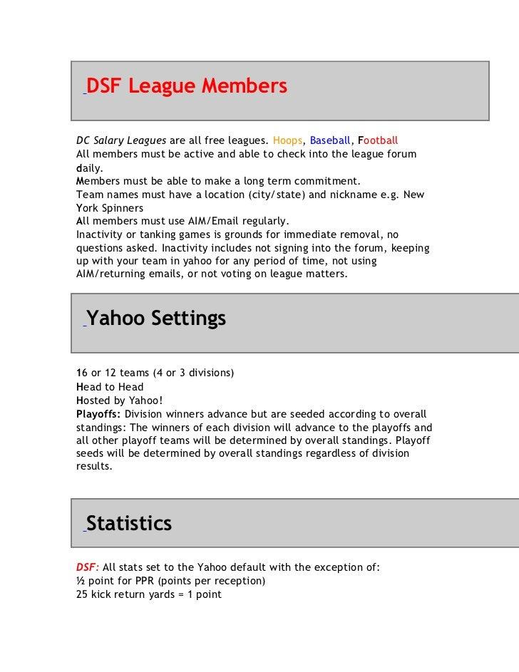 DSF League MembersDC Salary Leagues are all free leagues. Hoops, Baseball, Football                                       ...