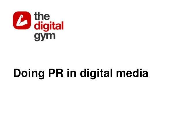 Doing PR in digital media