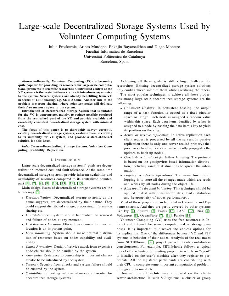 1Large-scale Decentralized Storage Systems Used by           Volunteer Computing Systems                     Iuliia Prosku...