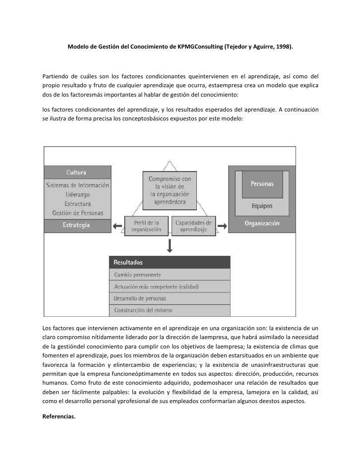 Modelo de Gestión del Conocimiento de KPMGConsulting (Tejedor y Aguirre, 1998).Partiendo de cuáles son los factores condic...