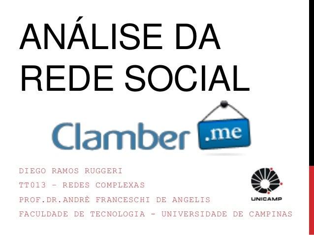 ANÁLISE DA  REDE SOCIAL  DIEGO RAMOS RUGGERI  TT013 – REDES COMPLEXAS  PROF.DR.ANDRÈ FRANCESCHI DE ANGELIS  FACULDADE DE T...