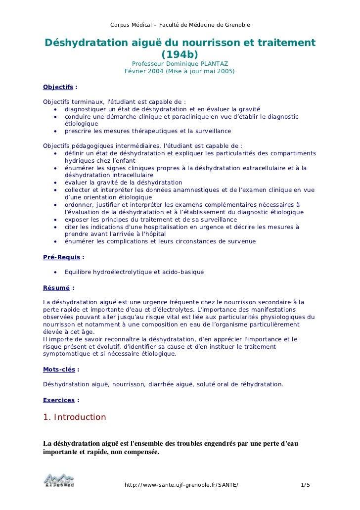 Corpus Médical – Faculté de Médecine de GrenobleDéshydratation aiguë du nourrisson et traitement                    (194b)...