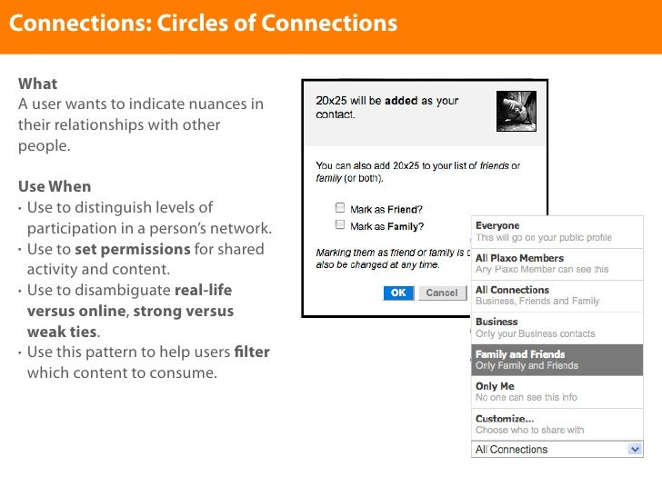 Connections: Circles of Connections  What A user wants to indicate nuances in their relationships with other people.  Use ...