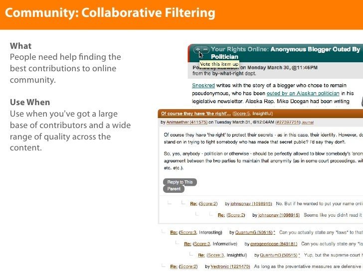 Community: Collaborative Filtering  What People need help nding the best contributions to online community.  Use When Use ...