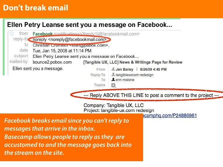 Don't break email     Facebook breaks email since you can't reply to messages that arrive in the inbox. Basecamp allows pe...
