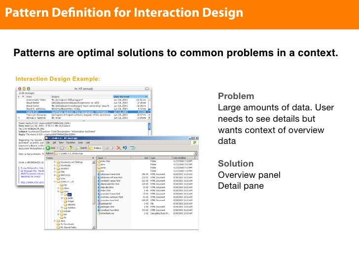 Pattern De nition for Interaction Design   Patterns are optimal solutions to common problems in a context.   Interaction D...