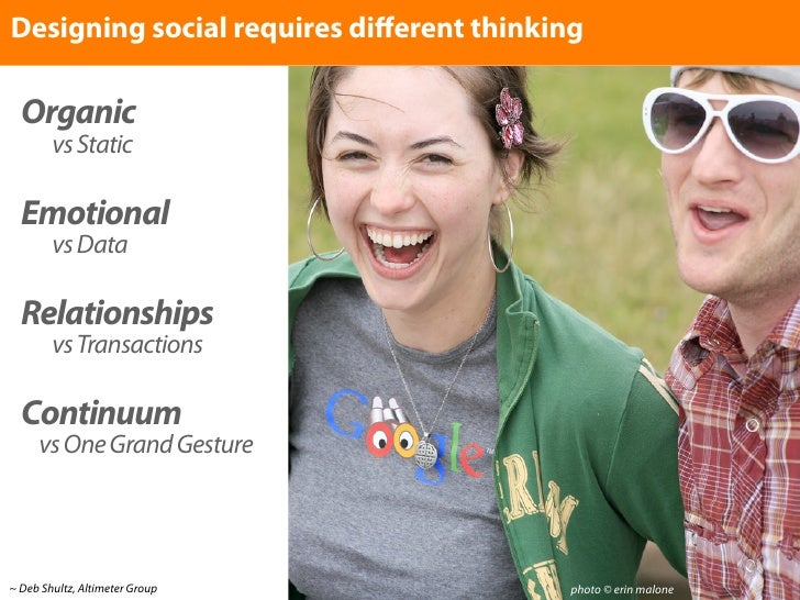 Designing social requires different thinking    Organic         vs Static    Emotional         vs Data    Relationships    ...