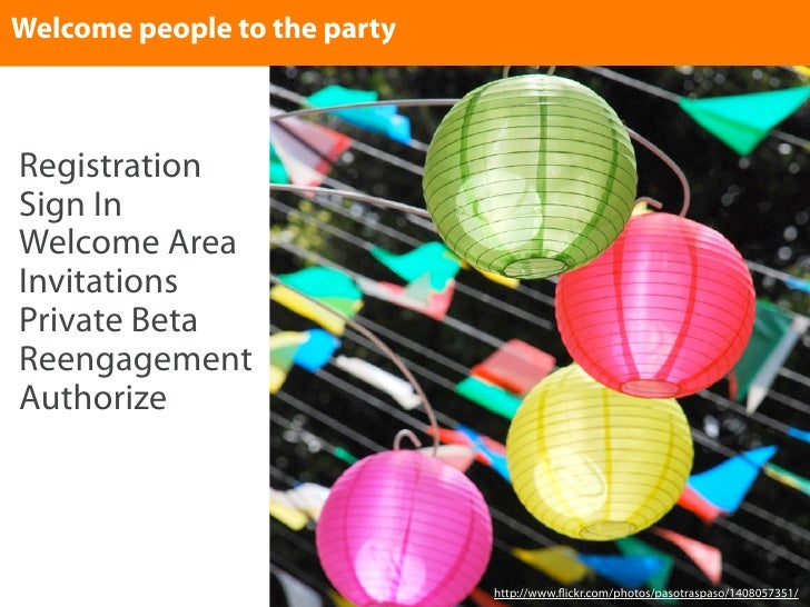 Welcome people to the party    Registration Sign In Welcome Area Invitations Private Beta Reengagement Authorize          ...