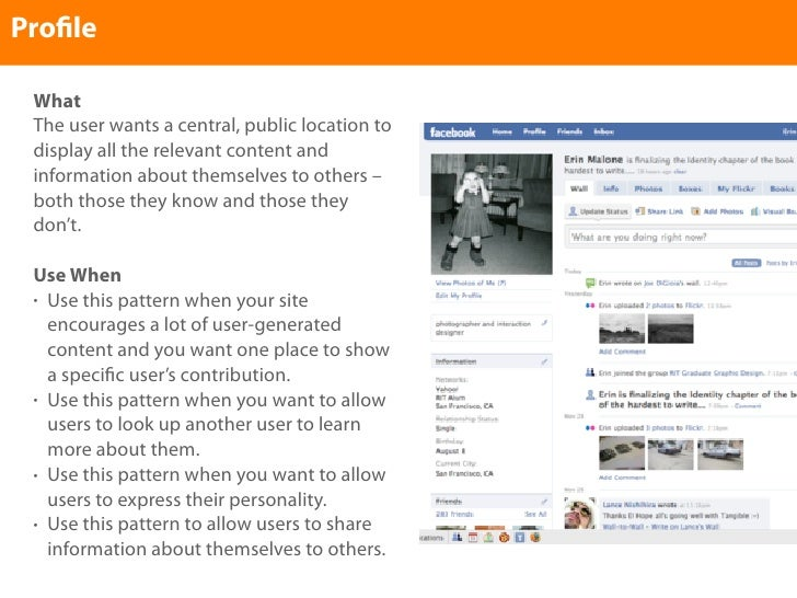 Pro le   What  The user wants a central, public location to  display all the relevant content and  information about thems...