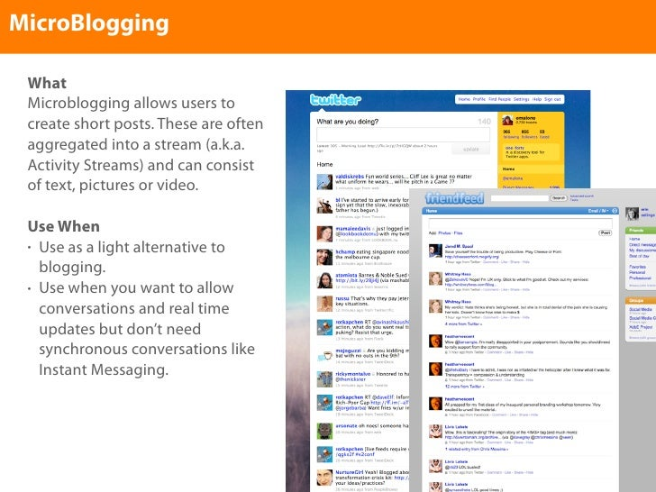 MicroBlogging   What  Microblogging allows users to  create short posts. These are often  aggregated into a stream (a.k.a....