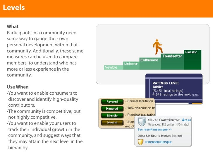 Levels   What  Participants in a community need  some way to gauge their own  personal development within that  community....