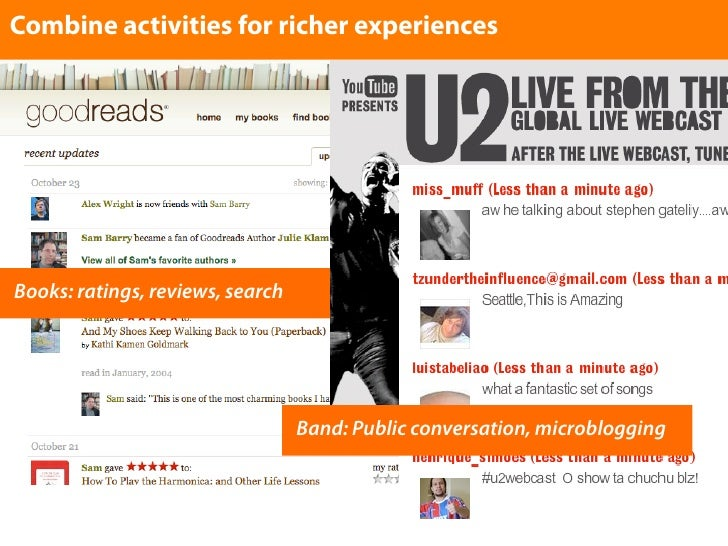 Combine activities for richer experiences     Books: ratings, reviews, search                                       Band: ...