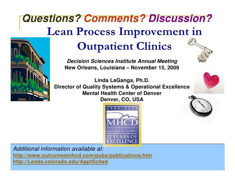 Lean Process Improvement In Outpatient Clinics