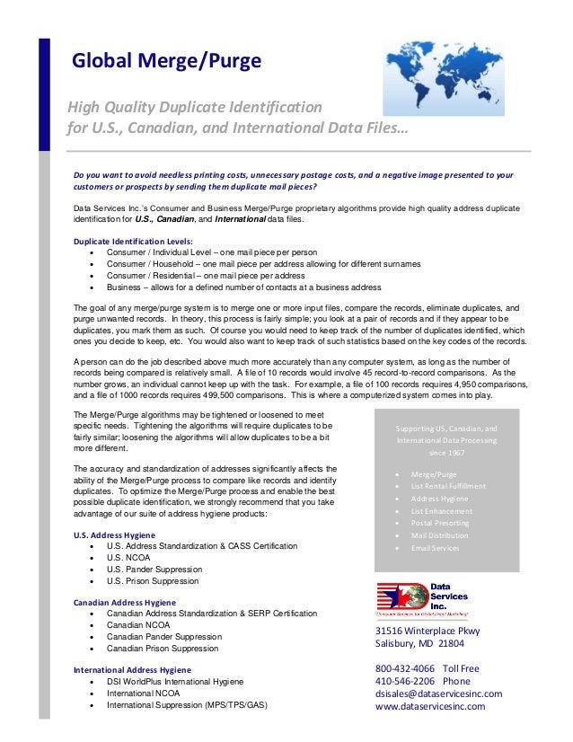 Global Merge/Purge High Quality Duplicate Identification for U.S., Canadian, and International Data Files… 31516 Winterpla...