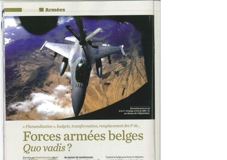 Forces armée belges.  Quo vadis ?