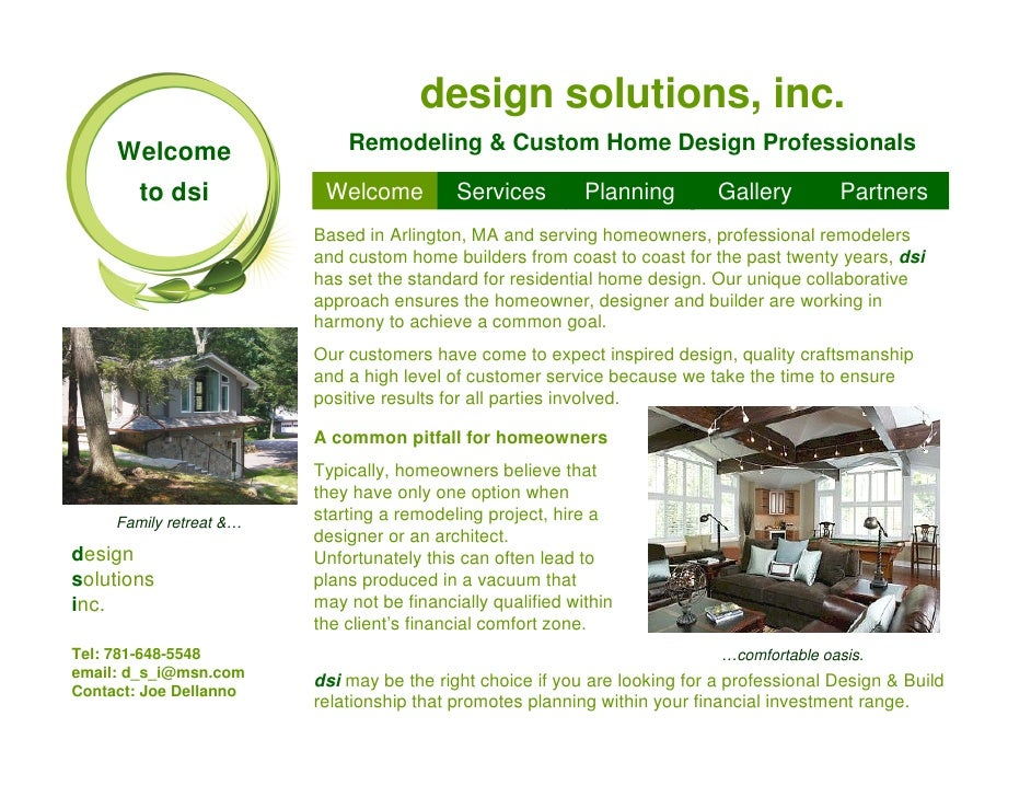 design solutions, inc.      Welcome                 Remodeling & Custom Home Design Professionals          to dsi         ...
