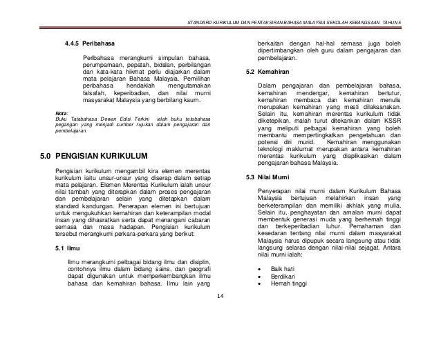 STANDARD KURIKULUM DAN PENTAKSIRAN BAHASA MALAYSIA SEKOLAH KEBANGSAAN TAHUN 5 14 4.4.5 Peribahasa Peribahasa merangkumi si...