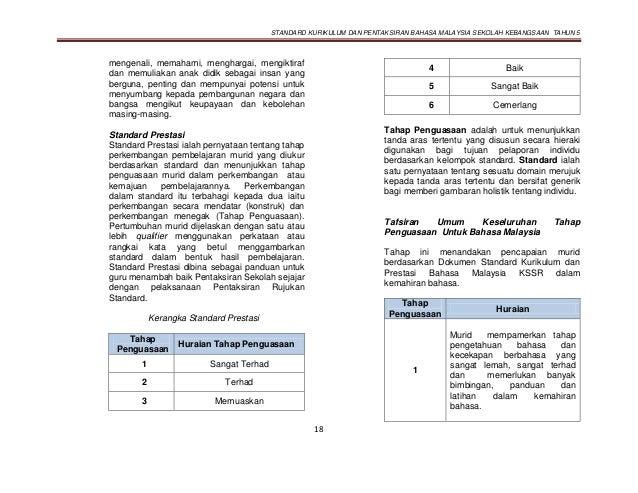 STANDARD KURIKULUM DAN PENTAKSIRAN BAHASA MALAYSIA SEKOLAH KEBANGSAAN TAHUN 5 18 mengenali, memahami, menghargai, mengikti...