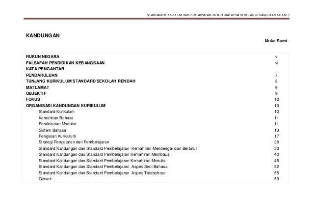 STANDARD KURIKULUM DAN PENTAKSIRAN BAHASA MALAYSIA SEKOLAH KEBANGSAAN TAHUN 5 KANDUNGAN Muka Surat RUKUN NEGARA v FALSAFAH...