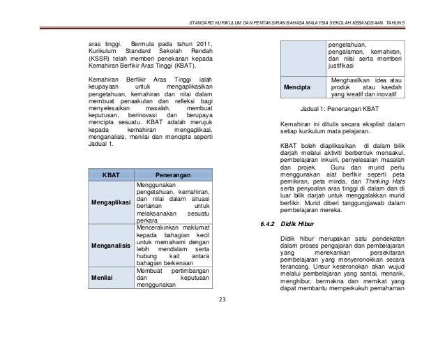 STANDARD KURIKULUM DAN PENTAKSIRAN BAHASA MALAYSIA SEKOLAH KEBANGSAAN TAHUN 5 23 aras tinggi. Bermula pada tahun 2011, Kur...