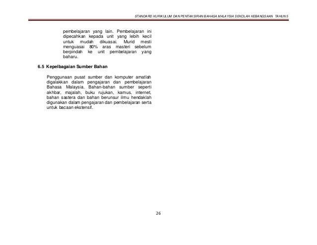 STANDARD KURIKULUM DAN PENTAKSIRAN BAHASA MALAYSIA SEKOLAH KEBANGSAAN TAHUN 5 26 pembelajaran yang lain. Pembelajaran ini ...