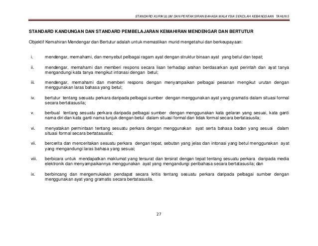 STANDARD KURIKULUM DAN PENTAKSIRAN BAHASA MALAYSIA SEKOLAH KEBANGSAAN TAHUN 5 27 STANDARD KANDUNGAN DAN STANDARD PEMBELAJA...