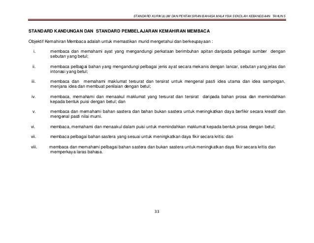 STANDARD KURIKULUM DAN PENTAKSIRAN BAHASA MALAYSIA SEKOLAH KEBANGSAAN TAHUN 5 33 STANDARD KANDUNGAN DAN STANDARD PEMBELAJA...