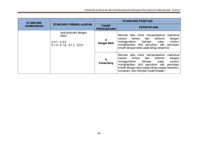 STANDARD KURIKULUM DAN PENTAKSIRAN BAHASA MALAYSIA SEKOLAH KEBANGSAAN TAHUN 5 43 STANDARD KANDUNGAN STANDARD PEMBELAJARAN ...